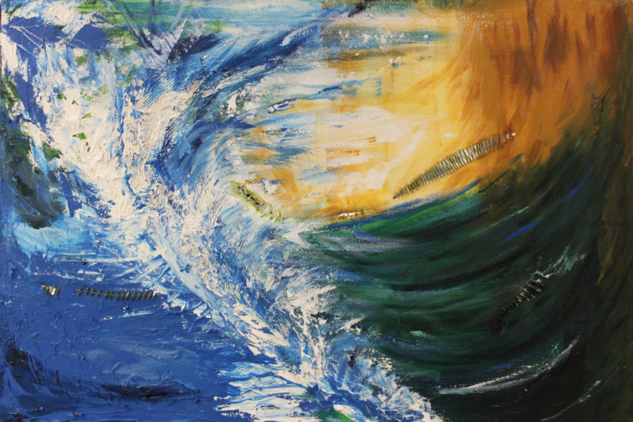 tsunami natural disaster painting